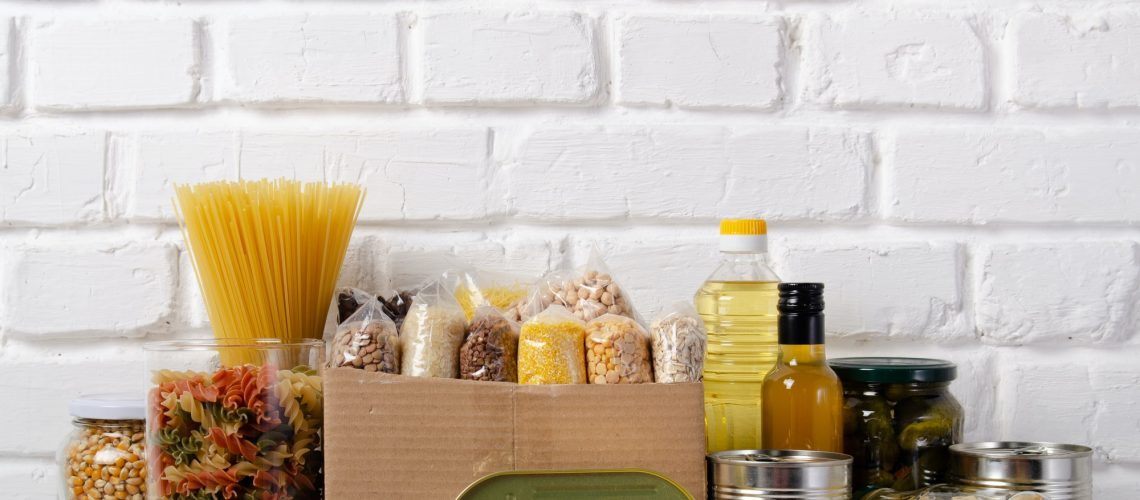 pantry essentials lined up
